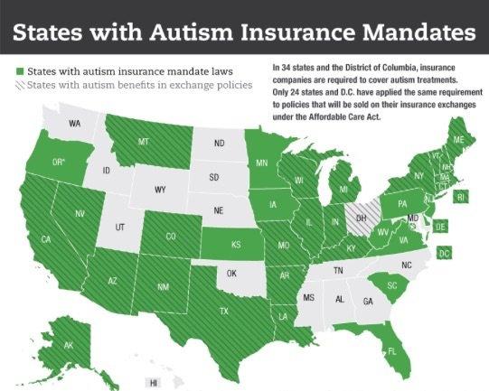 States with Autism Insurance mandates