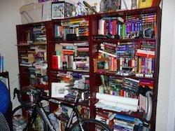 adhd cluttered bookshelf