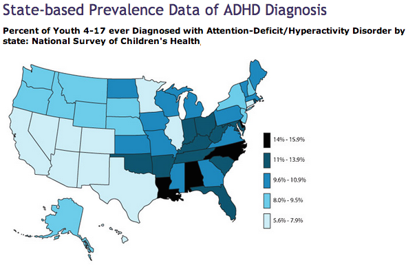 state based adhd prevalence US